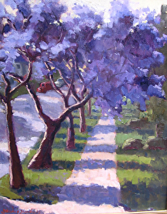 "South Pasadena Jacarandas by Laurie Hendricks Oil ~ 20"" x 16"""