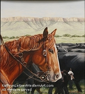 Listenin' to the Boss and Watchin' the Cows by Kathryn Leitner Colored Pencil ~ 12 x 10.5