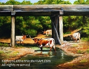 Under the Railway Bridge by Kathryn Leitner Oil ~ 14 x 11