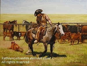 Draggin' on the Huffman Place by Kathryn Leitner Oil ~ 18 x 14