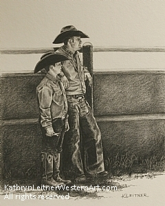 Jessie and Tucker by Kathryn Leitner Pencil ~ 10 x 8