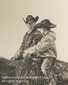 Nick and Sam by Kathryn Leitner Pencil ~ 10 x 8