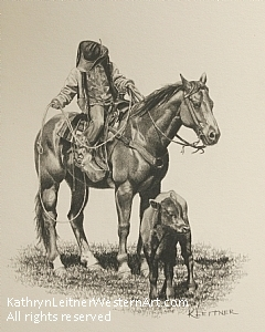 Sam, Learnin' the Ropes by Kathryn Leitner Pencil ~ 10 x 8