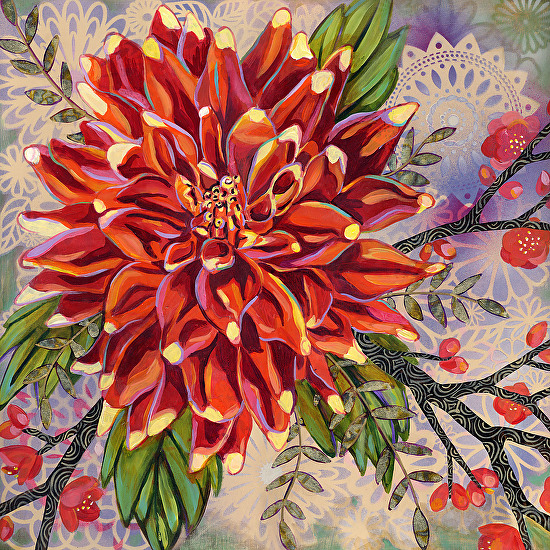 Orange Dahlia - Acrylic with Composition Leaf on Panel