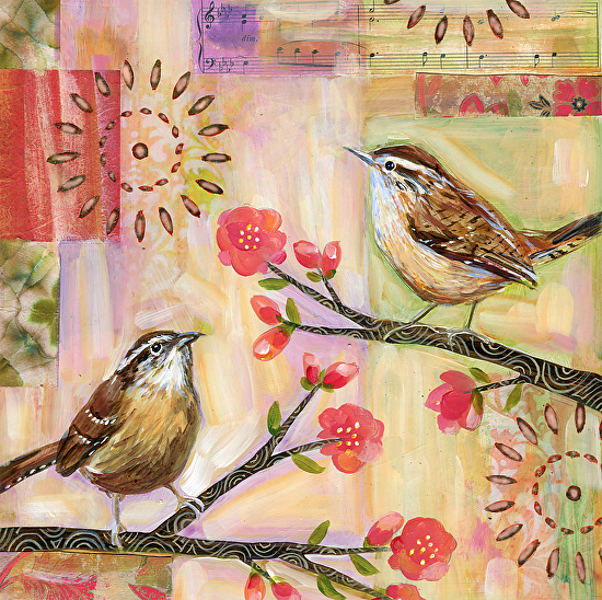 Two Wrens - Mixed Media Collage on Panel
