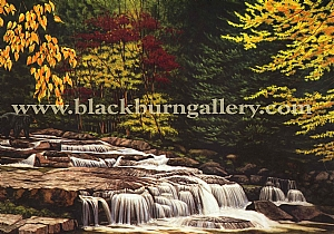 At the Falls by Loren Blackburn  Watercolor ~ 20 x 30