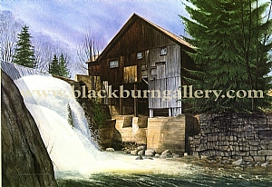 Mill On Mill Creek by Loren Blackburn  Watercolor ~ 20 x 30