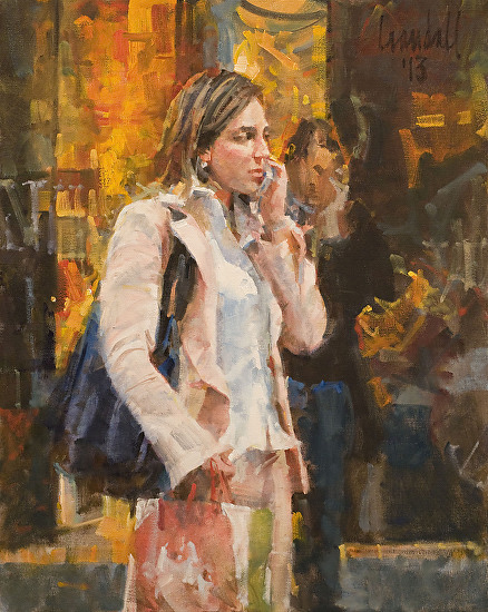 Girl in a Pink Jacket - Oil