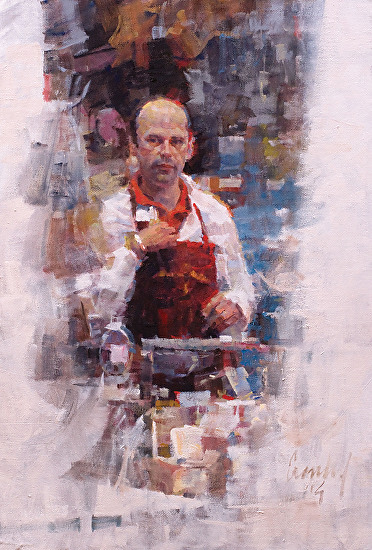 Man at the Cheese Counter - Oil