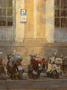 """Scooter Parking (study) by James Crandall Oil ~ 16"""" x 12"""""""