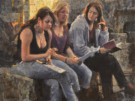 "Three Young Women at Pompeii by James Crandall Oil ~ 18"" x 24"""