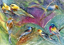 "Memory of Songbirds by John Bunker mixed water media ~ 28"" x 40"""