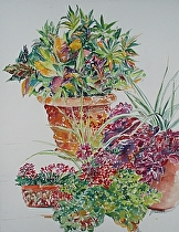 "Pots of Flowers by John Bunker Watercolor ~ 20"" x 16"""