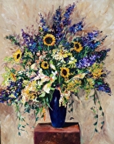 "Mixed Flowers in Blue Vase by John Bunker Acrylic ~ 28"" x 22"""