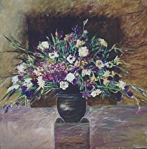 Vase of Flowers/Squared by John Bunker Acrylic ~ 52' x 52""