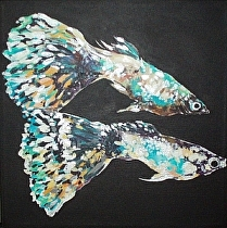 "#12 Squared - Two Fancy Guppies by John Bunker Acrylic ~ 12"" x 12"""
