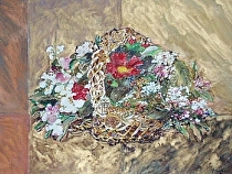 "Tribute - ""Asian Basket of Flowers"" by John Bunker mixed water media ~ 27"" x 33"""