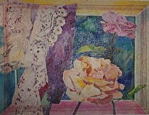 "Remembrance London: Roses & Lace by John Bunker mixed water media ~ 43"" x 60"""