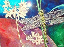 "Dragonfly and Florida Orchids by John Bunker mixed water media ~ 22"" x 30"""