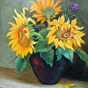 Sunflowers in a Vase 20x16 oils on canvas