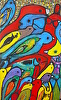 birds and fish (1) by Stephen Langdon acrylic and charcoal ~ 122cm x 63cm