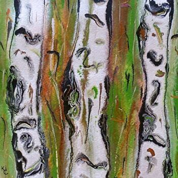 "Abstracted Aspens #174/ Color Study by Kimberly Conrad Acrylic ~ 8"" x 8"""