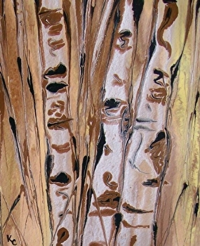 "Abstracted aspens # 41 by Kimberly Conrad Acrylic ~ 10"" x 8"""