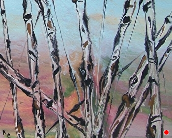 "Abstracted Aspens #47 by Kimberly Conrad Acrylic ~ 8"" x 10"""
