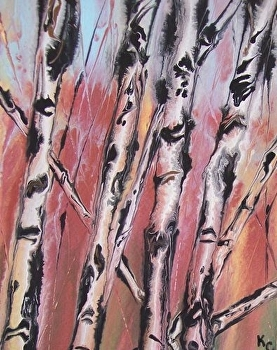 "Abstracted Aspens # 46 by Kimberly Conrad Acrylic ~ 10"" x 8"""