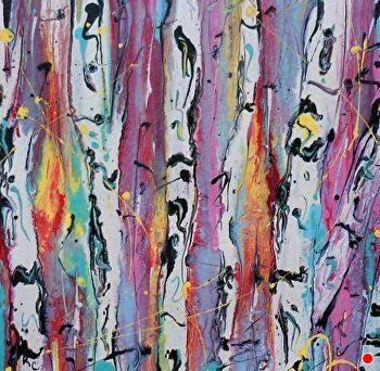 "Abstracted Aspens #136 by Kimberly Conrad Acrylic ~ 8"" x 8"""