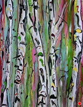"Abstracted Aspens #140 by Kimberly Conrad Acrylic ~ 10"" x 8"""
