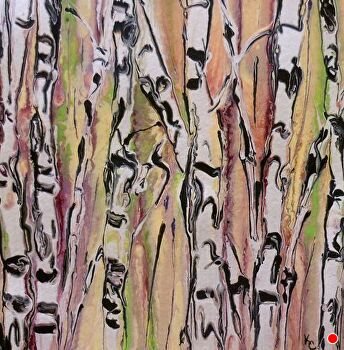 Abstracted Aspens # 145 by Kimberly Conrad Acrylic ~ 8 x 8