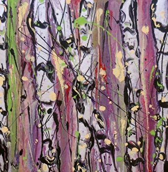 "Abstracted Aspens # 146 by Kimberly Conrad Acrylic ~ 8"" x 8"""