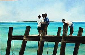 Bonefish Dock by Sheldon Saint Watercolor ~ 15 x 23