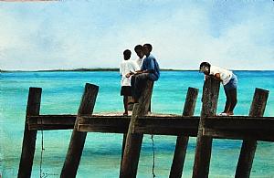 Bonefish Dock by Sheldon Saint Watercolor ~ 15 x 23