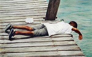 Watch me catch one I by Sheldon Saint Watercolor ~ 18 x 30