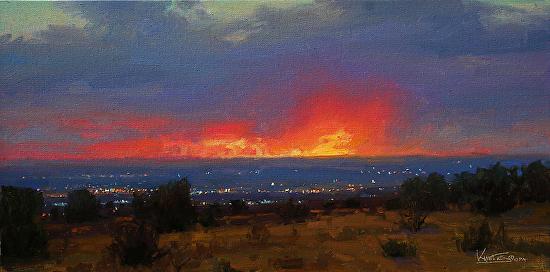 City Lights at Sundown - Oil