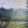 "Original Oil Horse Landscape Painting ""Late Afternoon Sun"""
