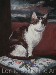 "Cat Portrait in Pastel ""Alice"" by Lorrie Beck Pastel ~ 12 x 9"