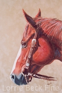 """Horse Painting in Pastel """"Texas Star"""" by Lorrie Beck Pastel ~ 15 x 10"""