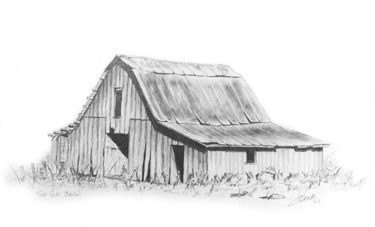 Lorrie beck work detail barn drawing in pencil the old for How to draw a barn easy