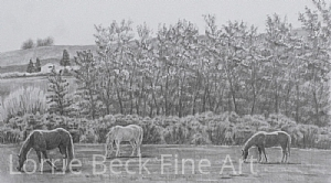 """Landscape Drawing in Pencil """"Pastoral Serenity"""" by Lorrie Beck Pencil ~ 12 x 21"""