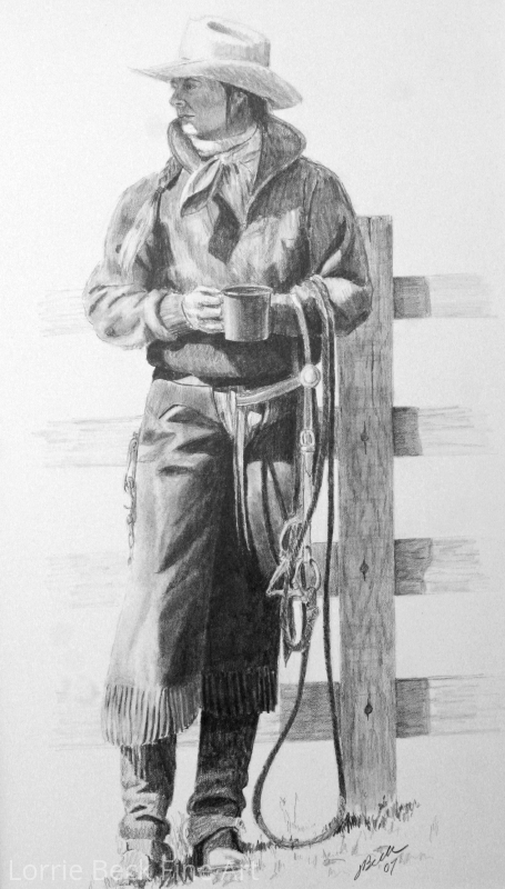 "Cowgirl in Pencil ""First Things First"" by Lorrie Beck Pencil ~ 15 x 9"