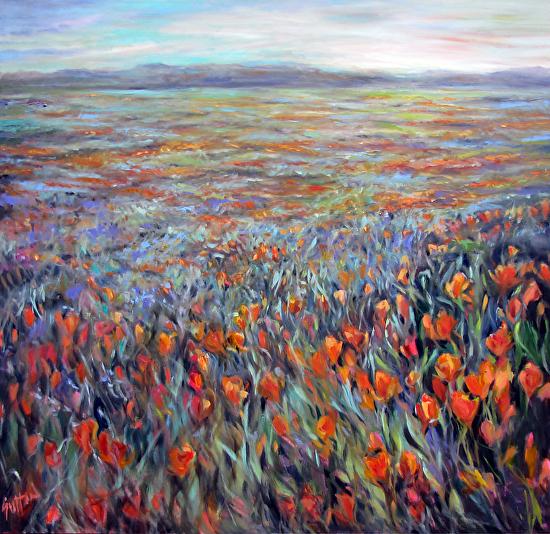 Golden Poppy Twilight - Oil