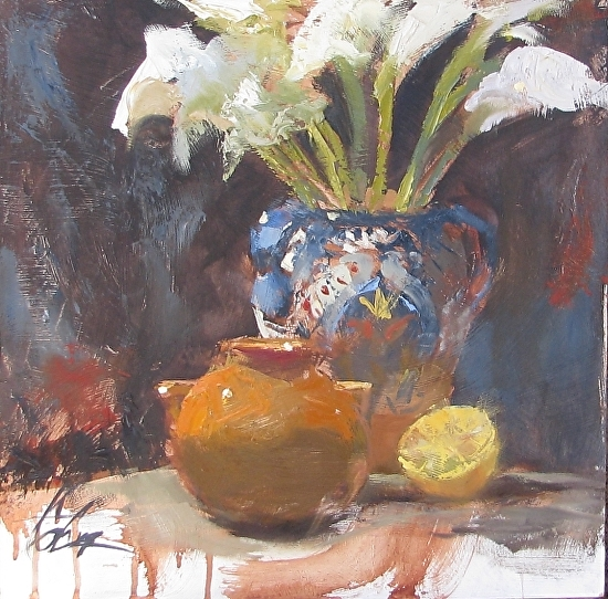 Calla Lilies and Gold 16x16 oil by Gretchen Lopez - Oil