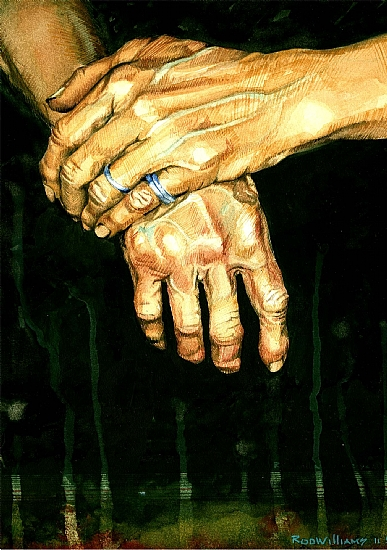 Old Hands by ROD WILLIAMS Watercolor ~  x