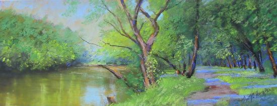 Summertime Along the Brandywine River - Pastel