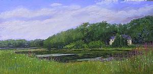 Rhode Island Landscape by Sandy Askey-Adams Pastel ~ 12 x 23 1/2