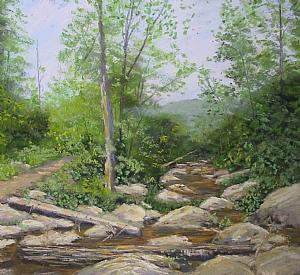 Shenandoah Mountain Creek by Sandy Askey-Adams Pastel ~ 8 x 7 1/2