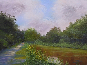The Delaware Canal - New Jersey Side by Sandy Askey-Adams Pastel ~ 9 x 12